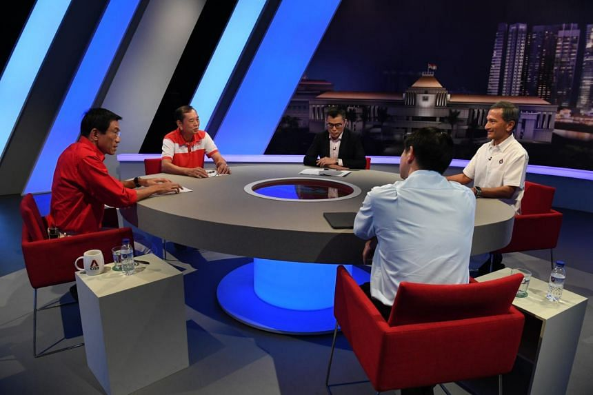 Candidates from PAP, PSP, WP and SDP during a televised debate at Mediacorp on July 3, 2020.