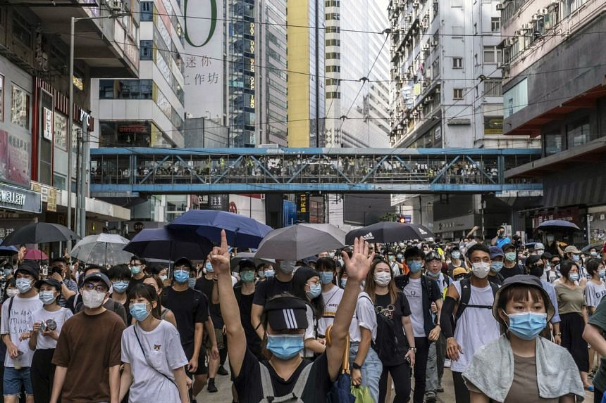 Protesters in Hong Kong on July 1, 2020, after China imposed the new security law.