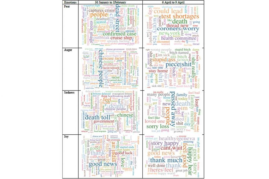 """""""Word clouds"""" generated by a machine-learning algorithm used by the NTU team."""