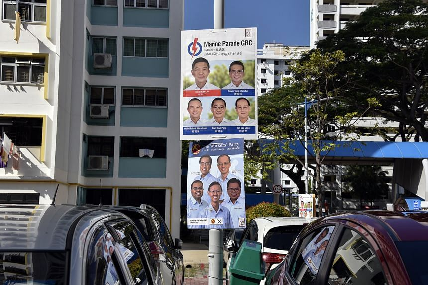 Posters for the PAP and WP as seen at a car park at Marine Terrace on July 5, 2020, in advance of the general election.