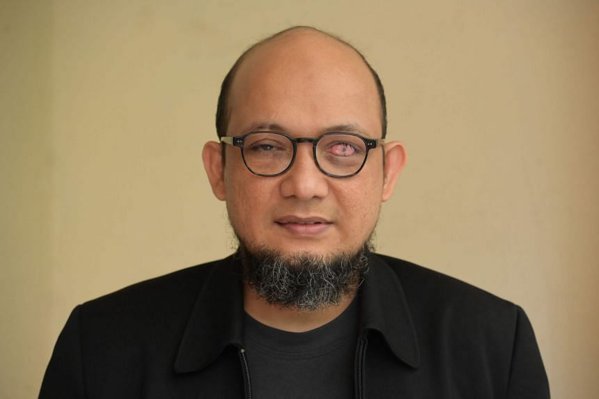 Corruption Eradication Commission (KPK) investigator Novel Baswedan poses for photo at his residence in Jakarta on July 16, 2020.