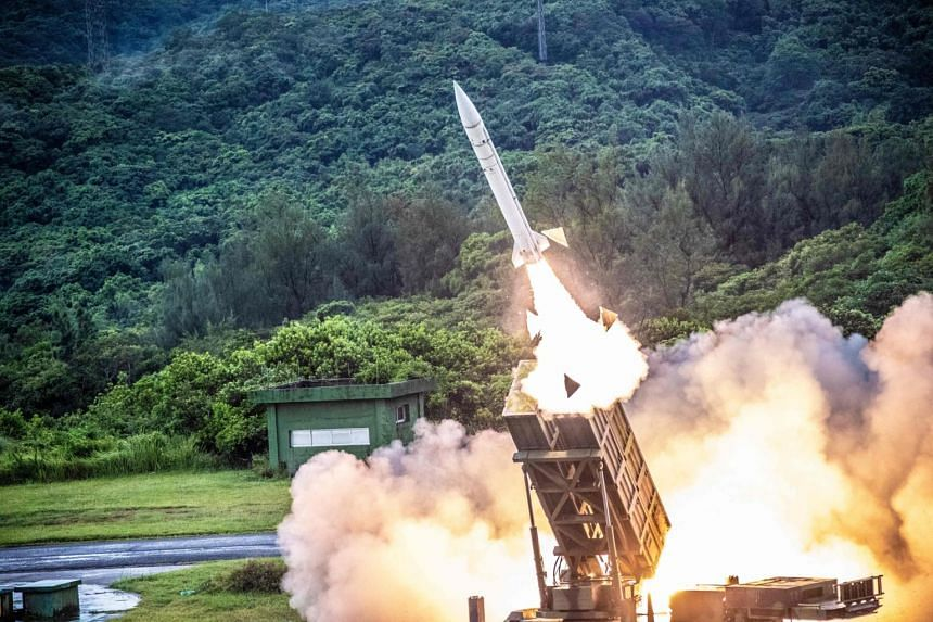 A domestically manufactured Hsiung Feng II missile being launched during the annual military drill in Taiwan on July 15, 2020.