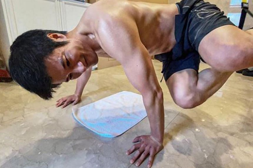 Wang Leehom posted a photo of himself working out at home on July 15, 2020.