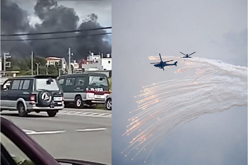 Apache helicopters (right) releasing flares during an exercise by Taiwan's military in Taichung yesterday. Smoke rising (left) from the scene of a crash at an air force base in Hsinchu. The incident involving a Bell 0H-58D helicopter killed its pilot