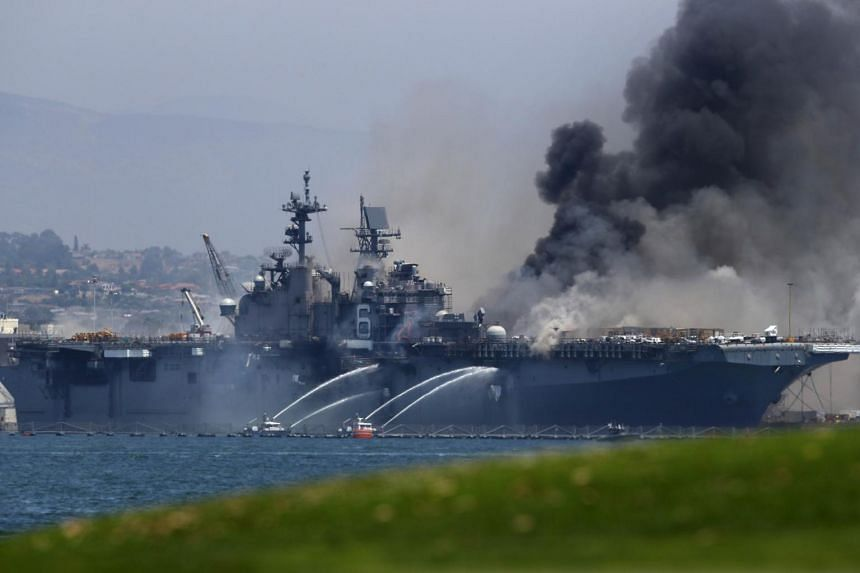 The flames erupted on July 12, followed by at least one large explosion aboard the USS Bonhomme Richard.