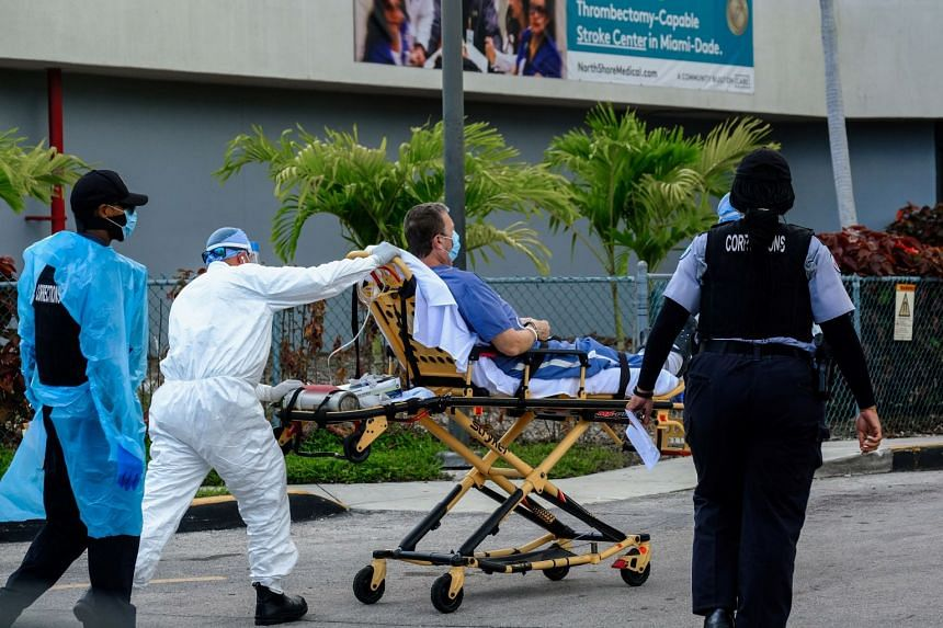 Emergency Medical Technicians arrive with a correctional patient at medical centre for Covid-19 patients in Miami, Florida.