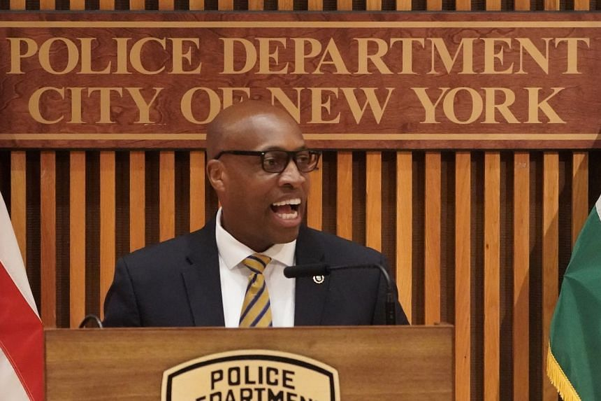 New York Police Chief of Detectives Rodney Harrison speaks to the media about the murder, July 17, 2020.