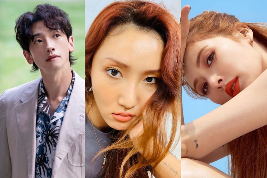 (from left) Rain, Mamamoo and HyunA in photos from their Instagram pages.