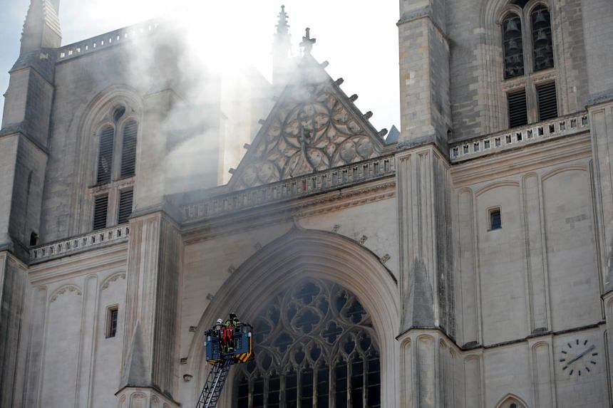 Fire Breaks Out At Nantes Cathedral In France
