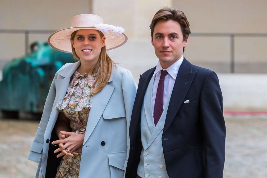 An October 2019 photo shows Princess Beatrice and Edoardo Mapelli Mozzi arriving for a wedding in Paris, France.