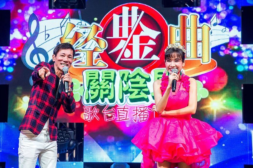 Getai performers Wang Lei (left) and Lee Pei Fen in an online getai show by Lex(S) Entertainment Productions last month.
