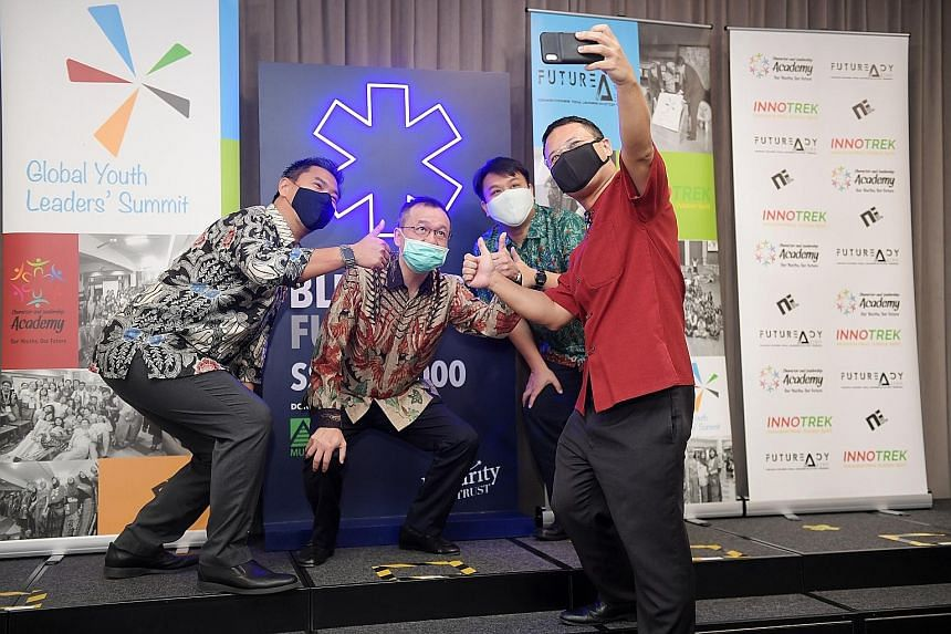 Present at the launch of the fund were (from left) Mr Martin Tan, executive director of The Majurity Trust; Mr Alvin Lim, chief financial officer for Musim Mas Holdings; Mr Delane Lim, founder of Character and Leadership Academy; and Mr Desmond Lee,