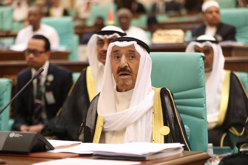 A June 2019 photo shows Kuwait's emir attending an Organization of Islamic Cooperation summit in Saudi Arabia.