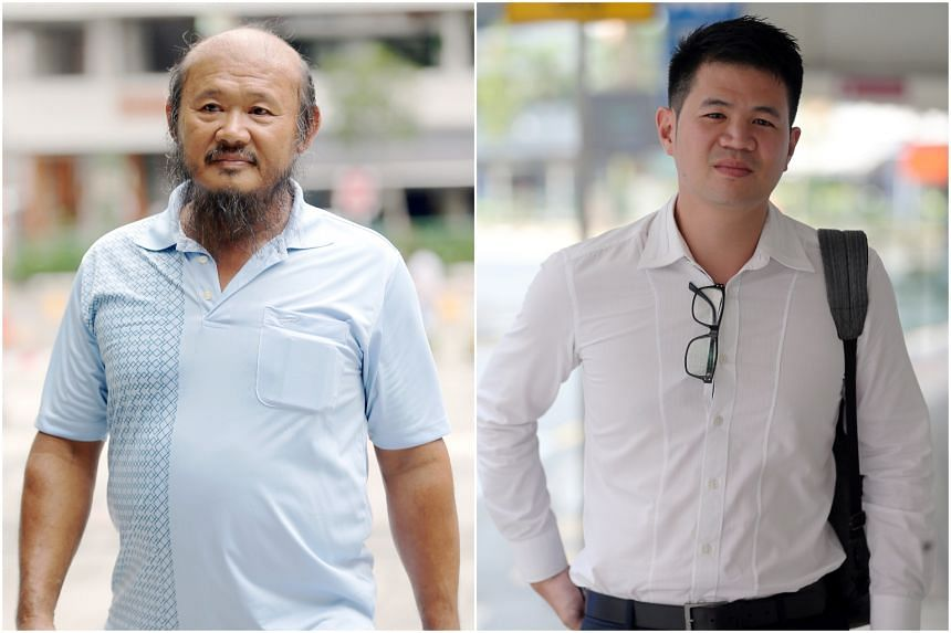Teo Seng Tiong (left) had been earlier convicted of causing hurt to the cyclist, Mr Eric Cheung Hoyu.