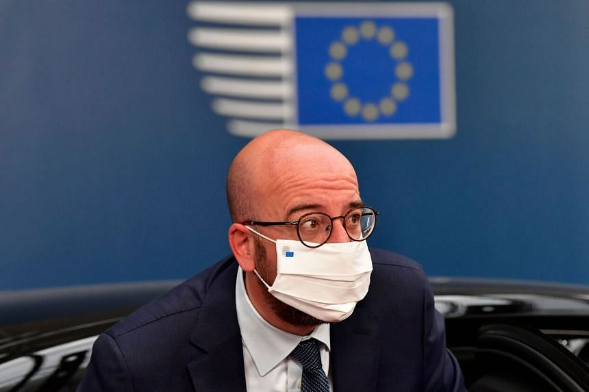 President of the European Council Charles Michel arrives for a summit in Brussels on July 19.