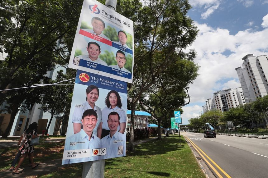 Posters of candidates in Sengkang GRC line the streets on July 6, 2020.