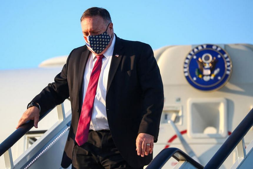 US Secretary of State Mike Pompeo steps from his plane upon arrival in London, on July 20, 2020.