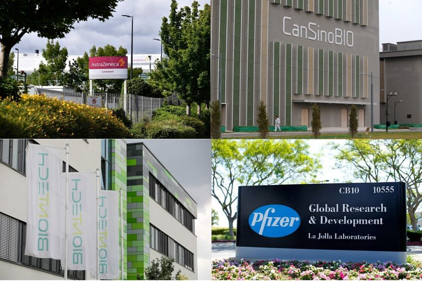 Human trials of three coronavirus vaccines being developed by (clockwise from far left) multinational drugmaker AstraZeneca and Oxford University; CanSino Biologics and China's military research unit; and US drugmaker Pfizer and German biotech compan