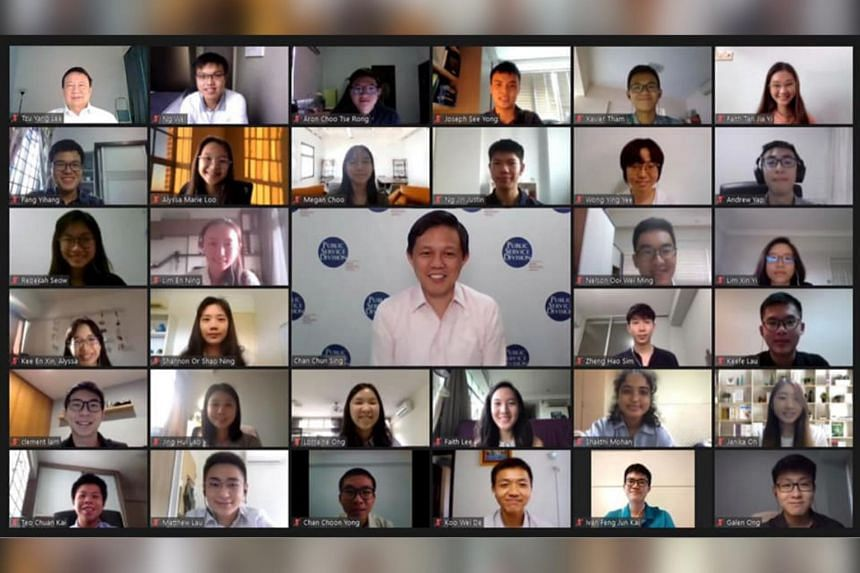 Trade and Industry Minister Chan Chun Sing at a virtual dialogue session with Public Service Commission scholarship recipients on July 22, 2020.