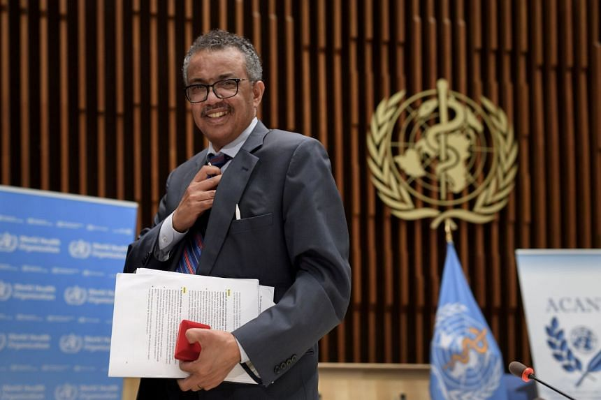 WHO chief Tedros Adhanom Ghebreyesus leaves a news conference at WHO headquarters in Geneva, July 3, 2020.