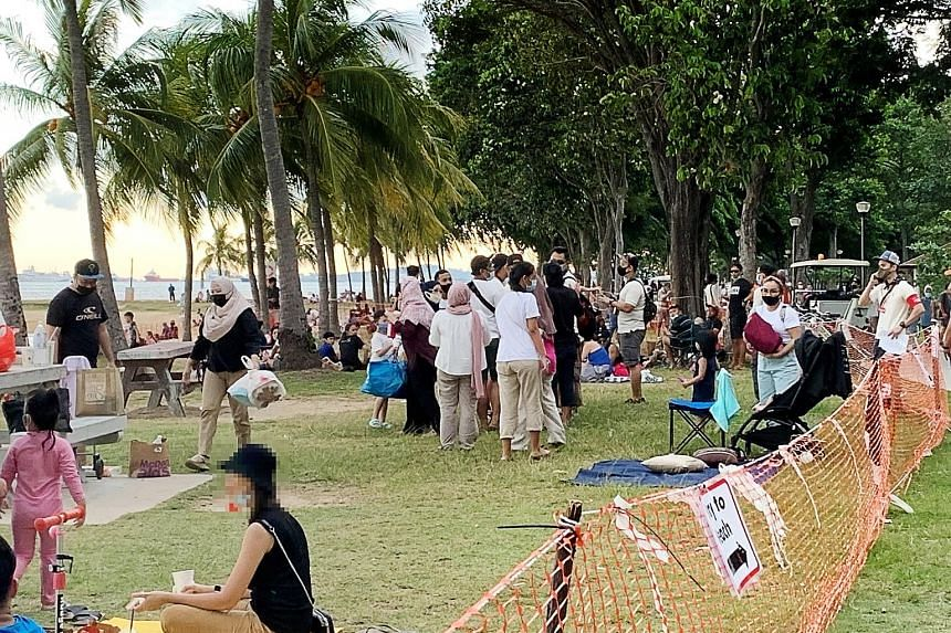 In a Facebook post on Tuesday, Minister for the Environment and Water Resources Masagos Zulkifli noted that large crowds were seen at East Coast Park at the weekend. He added that safe distancing ambassadors and enforcement officers encountered many