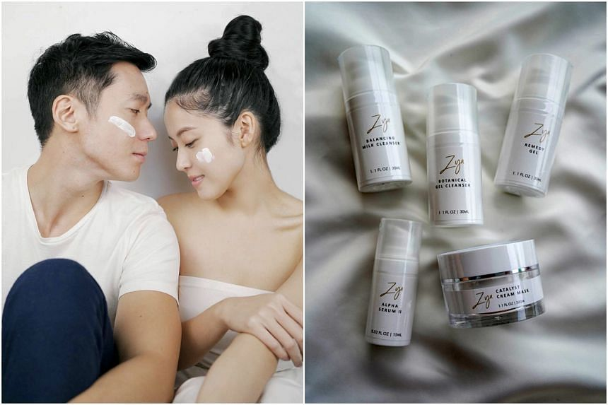 Joshua Tan and Zoen Tay (left) and Zyu Skincare Glow-It-Yourself Kit at $279 (right).
