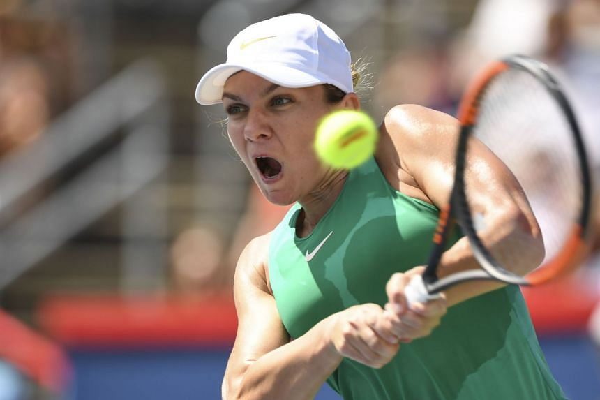 Halep in action during the Rogers Cup in Canada in 2018.