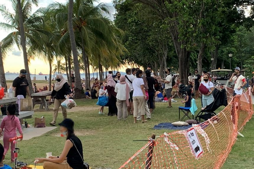 Over the past few weekends, crowds were observed at selected stretches of the beach at East Coast Park.