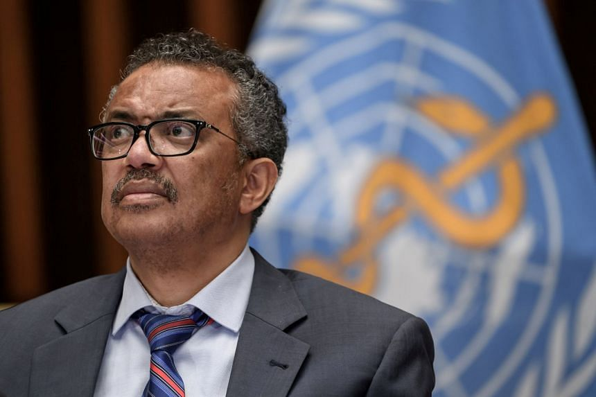 WHO chief Tedros Adhanom Ghebreyesus attends a news conference at WHO headquarters in Geneva, July 3, 2020