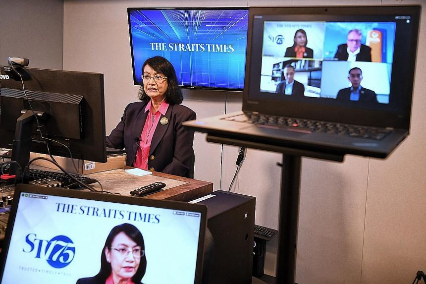 ST senior health correspondent Salma Khalik moderating The Straits Times Covid-19 webinar yesterday, which featured three experts.
