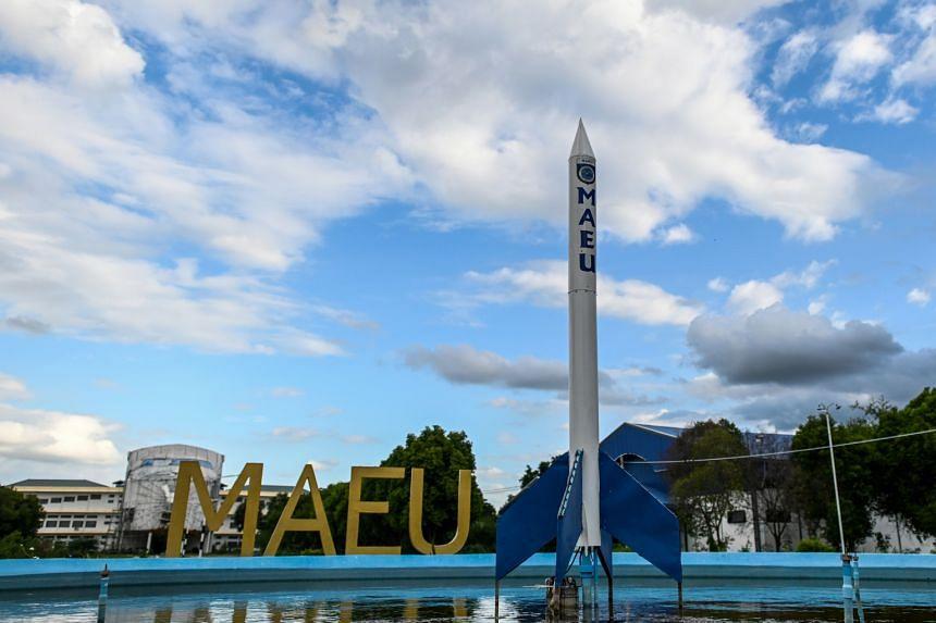 A mock rocket displayed on the campus of the Myanmar Aerospace Engineering University in Meiktila on June 19, 2020.