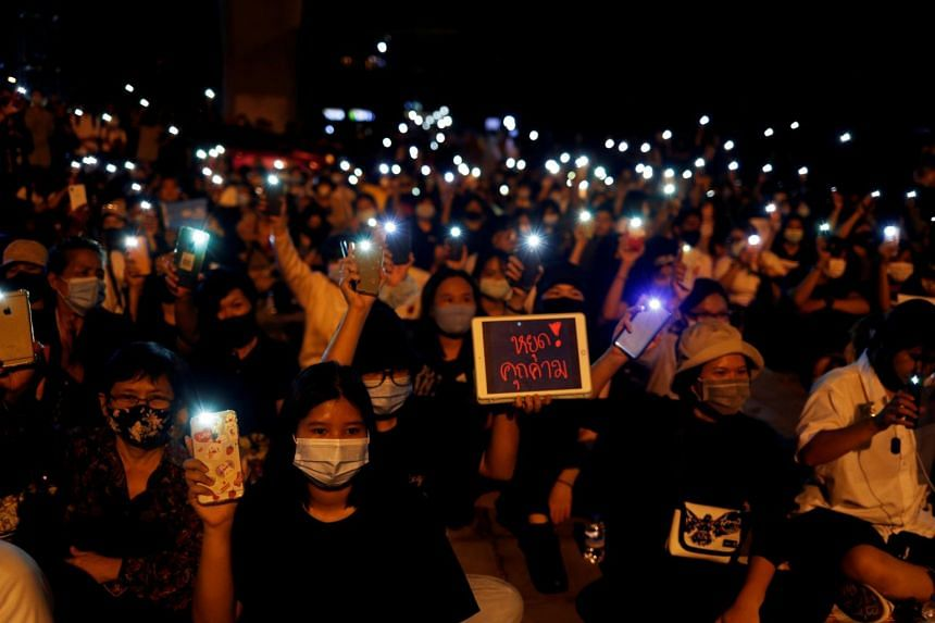 Demonstrators demand the resignation of Prime Minister Prayuth Chan-o-cha in Pathum Thani, Thailand, on July 23, 2020.