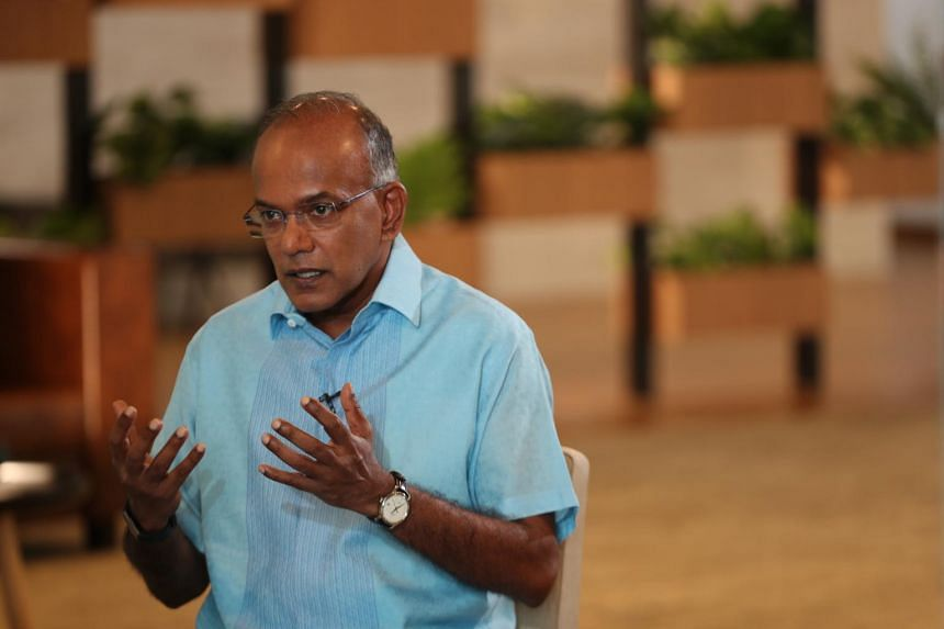 Law and Home Affairs Minister K. Shanmugam during an interview at the Treasury on June 23, 2020.