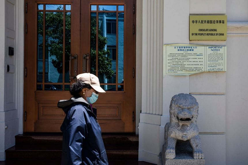 A person walks past China's consulate in San Francisco, California, on July 23, 2020.