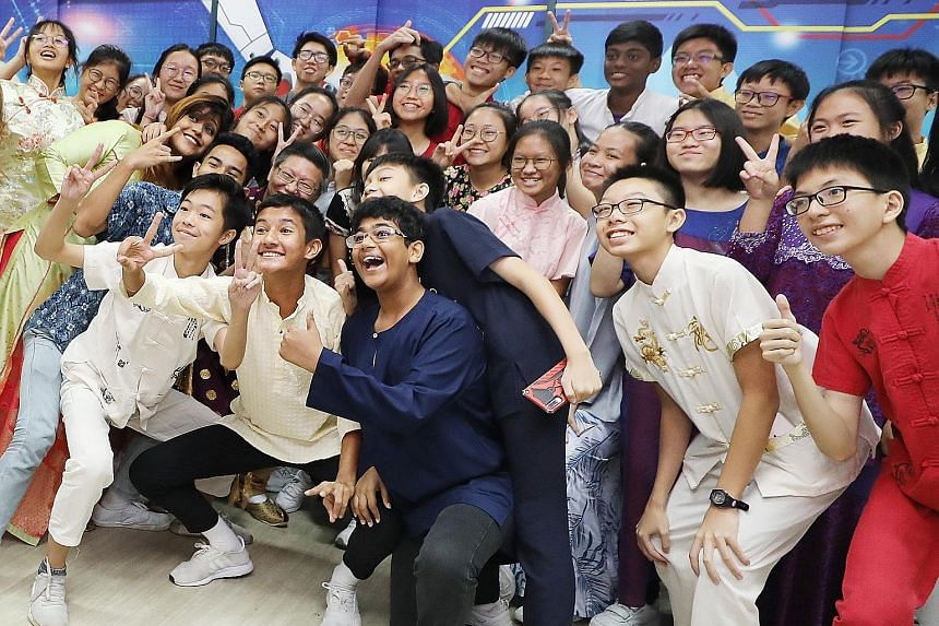 Chua Chu Kang Secondary School students dressed in ethnic costumes to mark Racial Harmony Day last year.