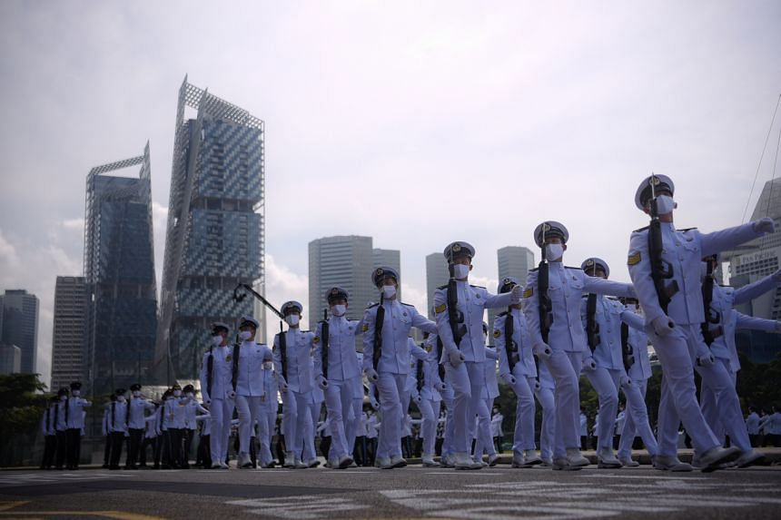 The marching contingent from the Republic of Singapore Navy during the NDP parade rehearsal at the Padang on July 26, 2020.