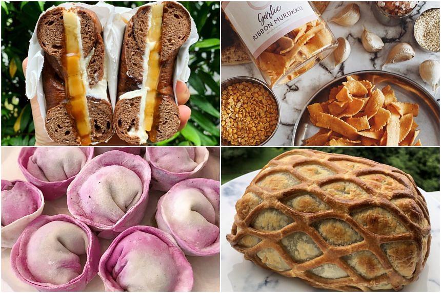 (Clockwise from top left) It's Bonkas, Willy bagel sandwich, Murukku, beef wellington and dumplings.