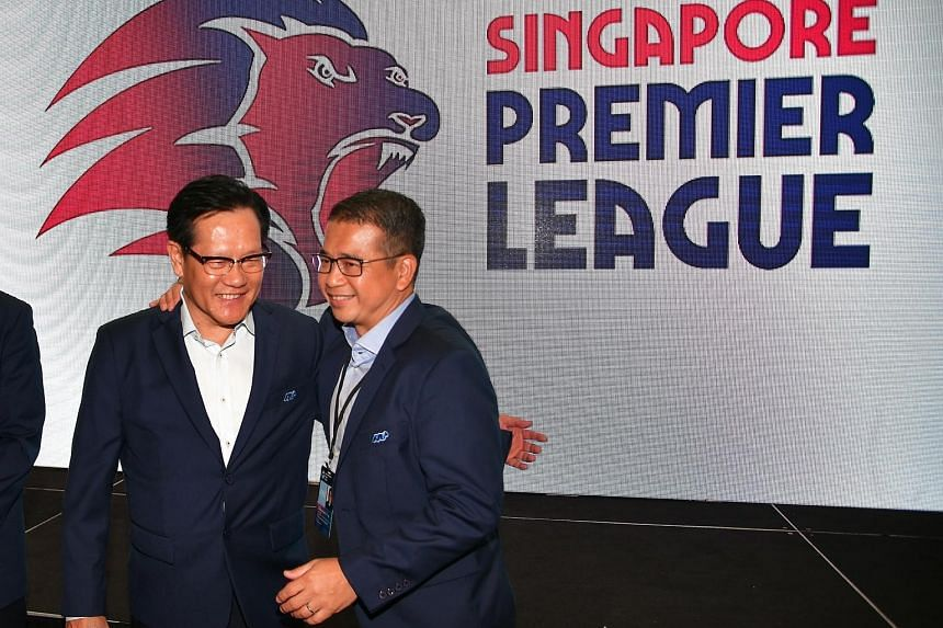 Edwin Tong (right), seen with FAS president Lim Kia Tong, will leave his position at the national football body that he has held since 2013.
