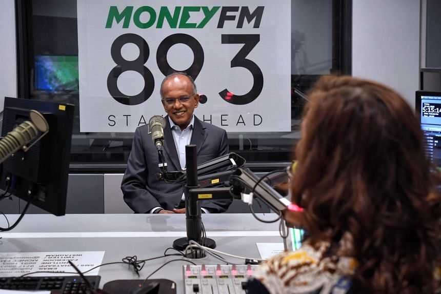 Law and Home Affairs Minister K Shanmugam during an interview with Money FM 89.3's Claressa Monteiro.