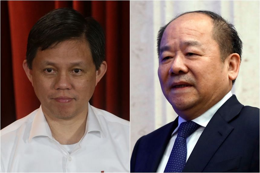 """Trade and Industry Minister Chan Chun Sing (left) and National Development and Reform Commission of China vice-chairman Ning Jizhe agreed over a video call to """"continue their support for globalisation and global supply chains""""."""