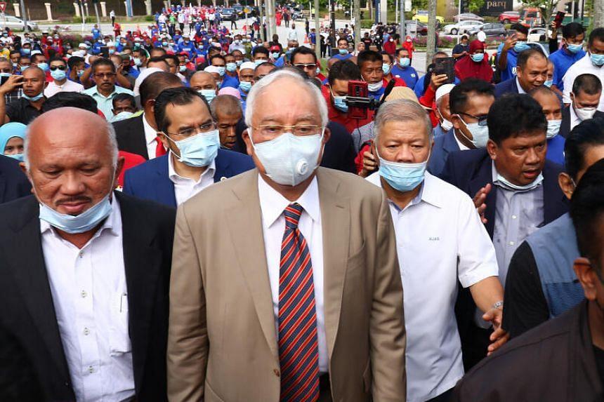 Najib Razak arrives at the Kuala Lumpur High Court, on July 28, 2020.