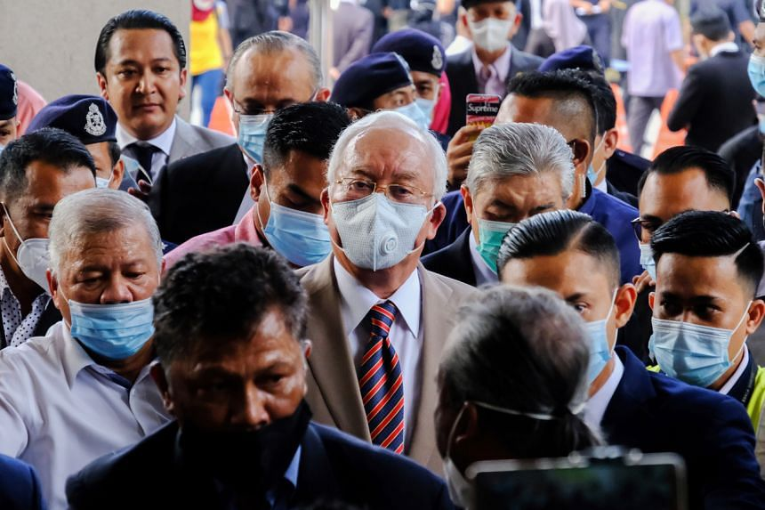 Najib Razak arrives at the Duta Court complex awaiting a verdict in his corruption trial in Kuala Lumpur, on July 28, 2020.