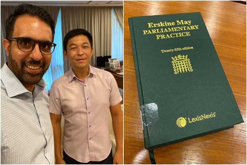 Worker's Party chief Pritam Singh with Speaker of Parliament Tan Chuan-Jin on July 28, 2020.