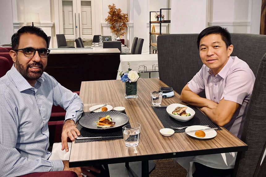 Leader of the Opposition Pritam Singh with Speaker of Parliament Tan Chuan-Jin on July 28, 2020.