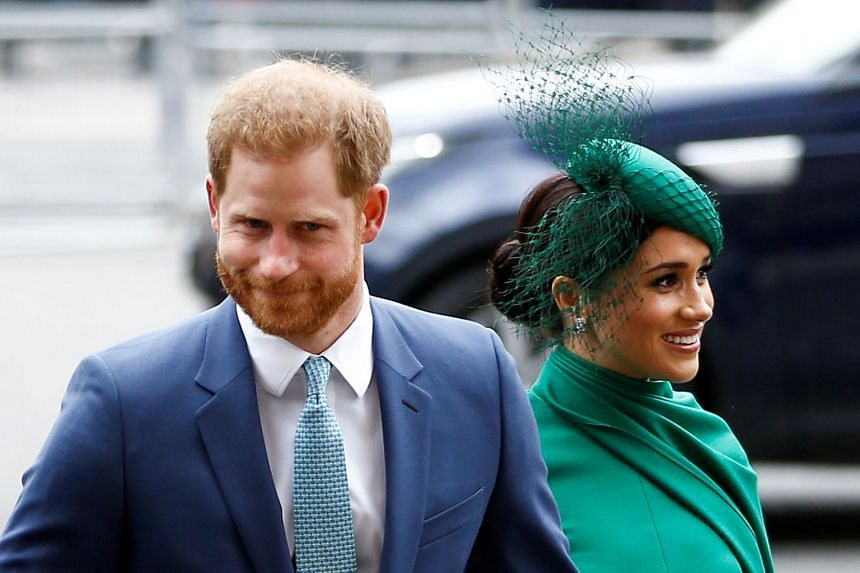 Britain's Prince Harry and Meghan, Duchess of Sussex, arrive for the annual Commonwealth Service at Westminster Abbey in London, in March 2020.