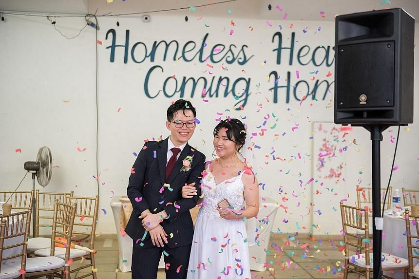 Registered nurse Peng Cheng Yu, 25, and Homeless Hearts of Singapore co-founder Abraham Yeo, 38, tied the knot last October. Their age difference was an issue initially, but their shared values and life goals won the day eventually. PHOTO: ABRAHAM YE