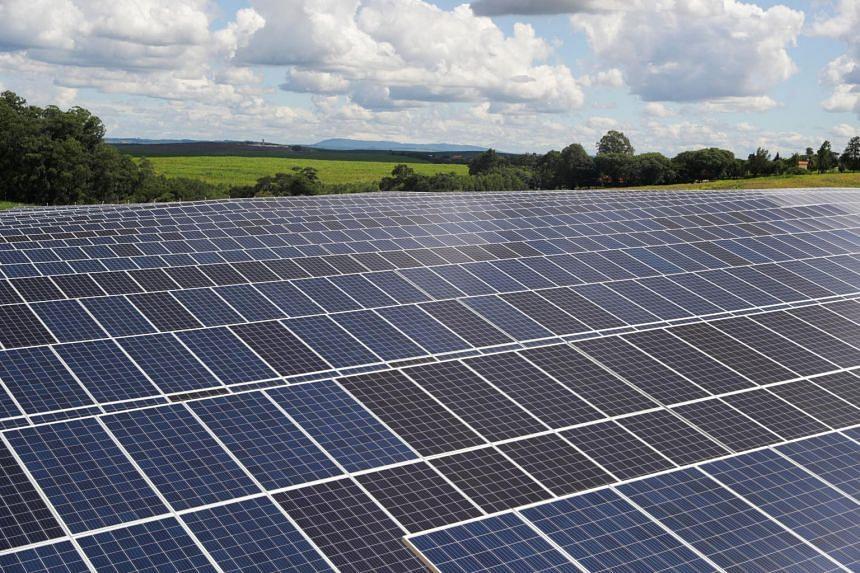 A photo taken on Feb 13, 2020, shows a photovoltaic solar panel farm in Sao Paulo, Brazil.