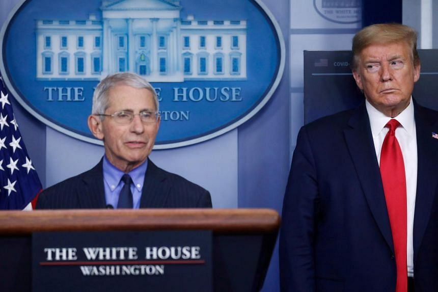 National Institute of Allergy and Infectious Diseases Director Anthony Fauci and US Pressident Donald Trump at the White House on April 17, 2020.