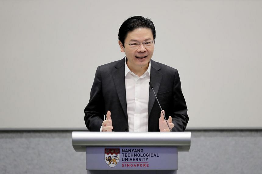 Minister for Education and Second Minister for Finance Lawrence Wong speaks at SkillsFuture@NTU on July 29, 2020.
