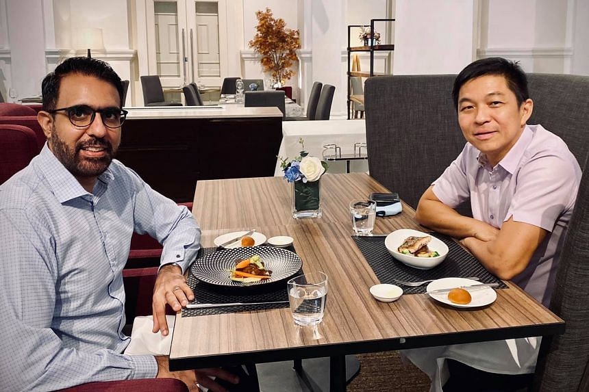 Workers' Party chief Pritam Singh and Speaker of Parliament Tan Chuan-Jin meeting over lunch yesterday. Mr Tan said they discussed the general election and politics, life in general, and also Mr Singh's role as Leader of the Opposition. PHOTO: TAN CH